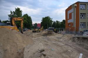 Obecne prace przy budowie parkingu