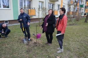 Działacze Platformy Obywatelskiej wStalowej Woli, odlewej: Dariusz Przytuła, Renata Butryn, Małgorzata Czwarno - Sieroń